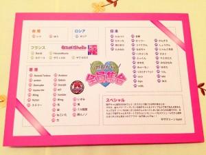 Le dos de la carte avec la liste des gens qui ont participé